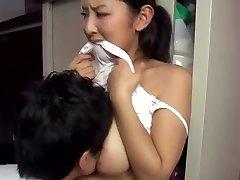 Warm japanese married neighbour teasing me