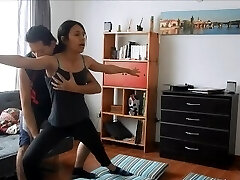 Joga instruktor jebanje sa toplom student
