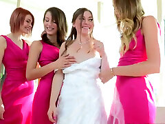 Charming bride takes part in steamy 4some lesbian sex