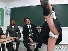 Asian gymnastic schoolgerl is getting wet