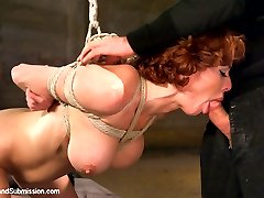 Slave girl Veronica Avluv is shared by Isis Love and Dane Cross in this threesome BDSM fuckfest.