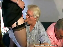 Teen with Two old men and a mature crossdresser