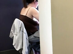 20yr old without bra chubby in the library