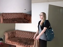 Amber takes a huge load on my casting sofa