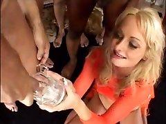 Blond girl drinks a lot of cum