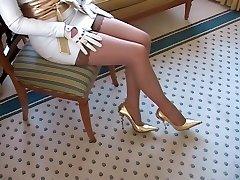 Женщин Носить Белые Кожаные Перчатки