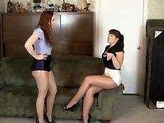 lezbiyen parlak külotlu çorap esaret