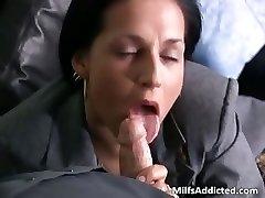 Slutty brunette MILF secretary gets wet part4