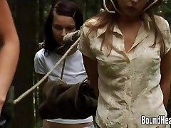 Two Innocent Girls Caught By Lesbian Huntress And Tied Up