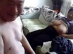 Elder Chinese Couple Get Naked and Fuck on Webcam