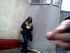 Jizz Shot in front of ultra-cute girl on street