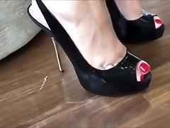Gorgeous Metal Heels On Wooden Floor