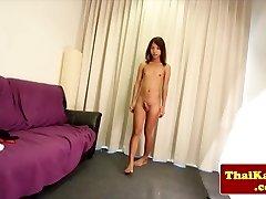 Skinny ladyboy masturbating her cock