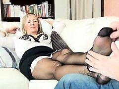 Nylon foot Full geyser masturbates