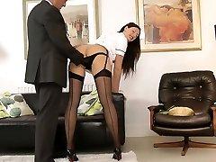 UK milf nurse seduces lucky british aged