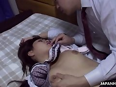 Co-worker porks pretty hot Asian babe Rika Namikawa after a corporate soiree
