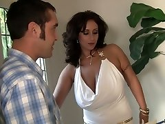 Yam-sized boobed MILF Eva Notty rimming her man before hardcore fuck