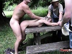 Hot pornstar outdoor with money-shot