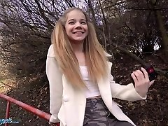 Public Agent Outstanding Blonde Teen Sabrina Spice Gives Oral In Forest