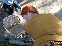 Hot teenie outdoor with cumshot