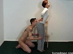 Naked slave licks mistress' gams for worship