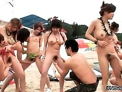 Outdoor beach sex with a sexy group part2