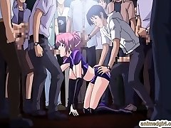 Beauty Japanese hentai gangbang in the public show