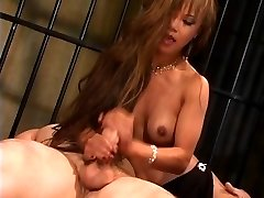 Charming thin asian slut in high heels rides a big dick and gets jizzed on
