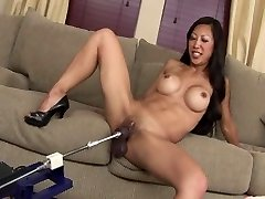 SEXY FIT ASIAN MILF TIA FUCKS FAKE PENIS MACHINE ROBOT