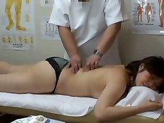 Medical voyeur massage movie scene starring a plump Asian wearing black panties