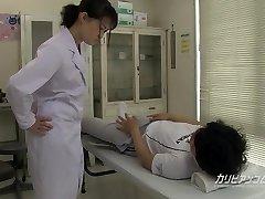school nurse giving a great hand blowjob