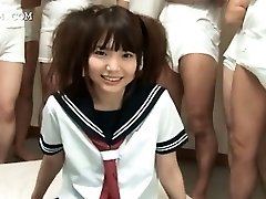 Sinless oriental schoolgirl gets pussy rubbed in group sex