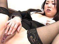 J15 Japanese secretary fingers her love tunnel