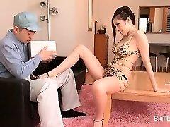Smokin' hot Oriental housewife seducing part3