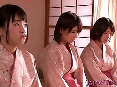 Spanked japanese teens queen man while stroking him off