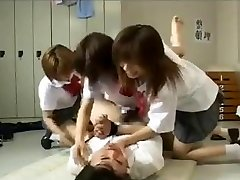 Strapon gangbang by Three japanese schoolgirls