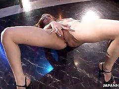 Asian stripper getting wild on the pole as that babe masturbates