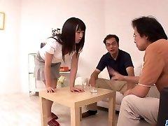 Nozomi Hazuki desires to drink after blowjo