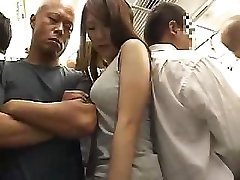 Astonishing Asian angel with hairy pussy acquires fucked in the train