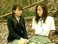Mischievous Asian Lesbians Outside In The Forest