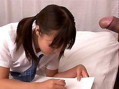 Lusty Asian college slut Momoka Rin sucks sugary-sweet cock of her camera fellow