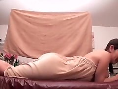 Oiled Chinese darling prefers getting massaged by her friend