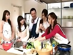 Cooking showcase turns into an intercourse with hot babes getting boob