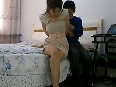 Chinese girl restrain bondage tied up and ball-gagged with stockings