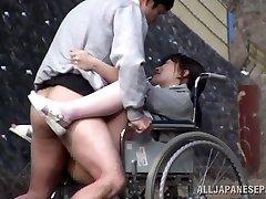 Insatiable Japanese nurse inhales cock in front of a voyeur