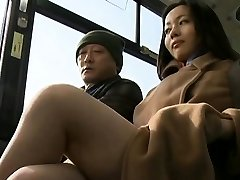 Concupiscent passenger abuses sexy stunner in public