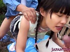 Petite japanese stunner fingered outdoors