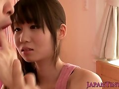 Tiny oriental pornstar Yumeno Aika cumswapping