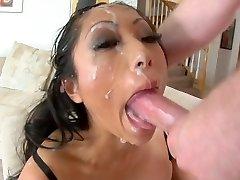 Asian bitch deepthroat to facial