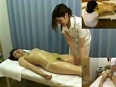 Massage hidden camera films a beauty giving cook jerking
